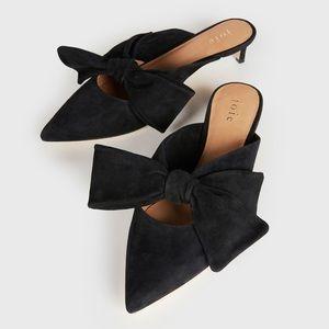 Joie Caleah Suede Mule Black Kitten Heels Bow 7.5
